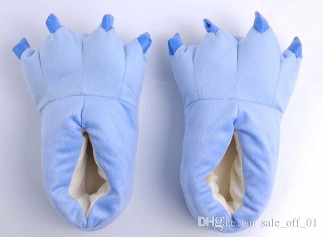 Mujeres Hombres Zapatos Huaraches Zapatillas de deporte Lindo Divertido Animal Patas de la pata Monstruo Garra de dibujos animados Zapatilla Caliente Suave Felpa Invierno Zapatos de interior