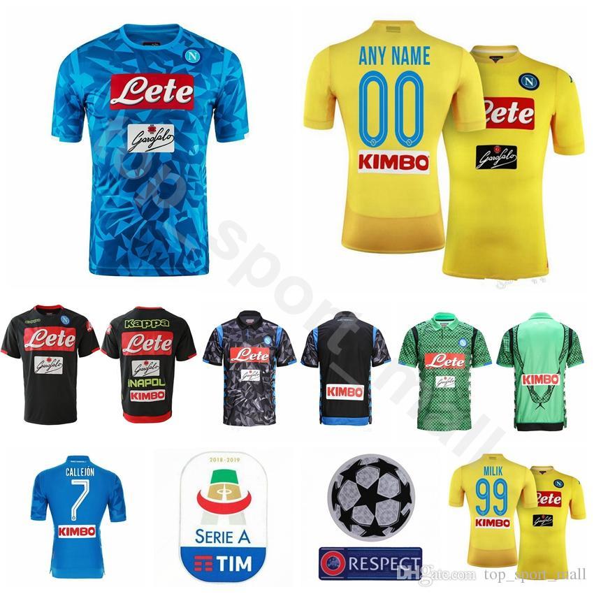 2018 2019 FC Soccer Napoli Jersey Hombres 7 CALLEJON 14 MERTENS 17 HAMSIK  20 ZIELINSKI 5 ALLAN 24 INSIGNE Uniformes Kits Fútbol Por Top sport mall 05785ab421494