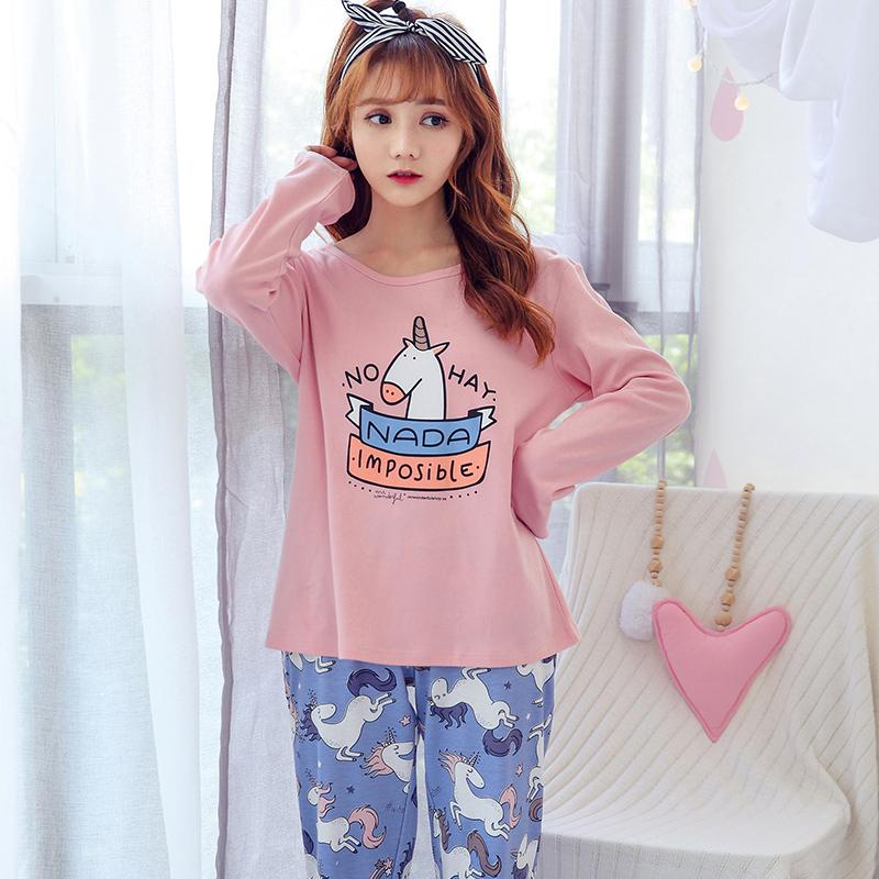 23fe9b0b59 2019 New Cute Women S Pajama Sets Cartoon Print Set Round Neck Women Pajamas  Cotton Plus Size Pajamas Suit For Women Femme From Isaaco
