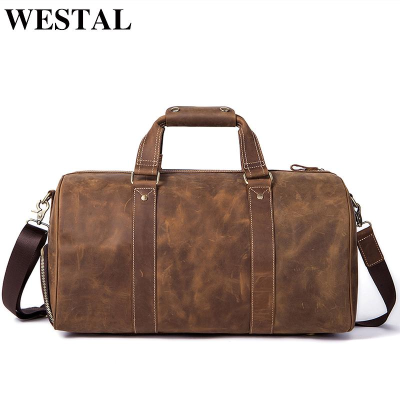 6875f2513262 WESTAL Crazy Horse Leather Duffle Bags Vintage Weekend Bag Carry On Luggage  Men Computer Laptop Handbag Men Travel Bag Leather Overnight Bags  Briefcases For ...