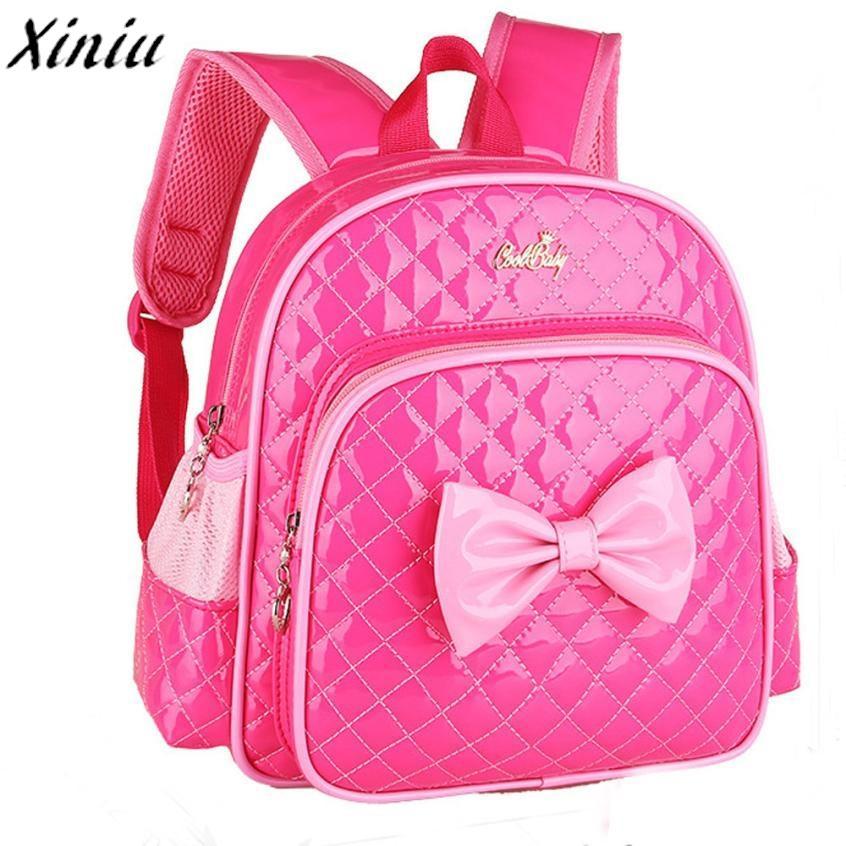 3e3df5d17025 Girl s Backpack Schoolbag Gift Leather Bowknot Shoulder Bag for Kids ...