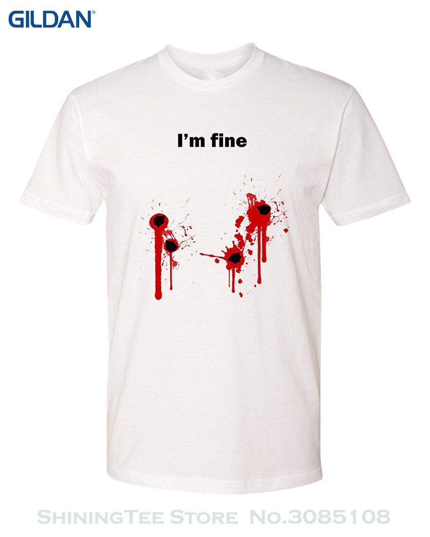 617705e3c Wholesale Discount Shirts Summer Short Sleeve Novelty Panoware Men'S I'M  Fine Bullet Hole T Shirt Trendy T Shirts Offensive Shirts From  Shiningteestore, ...