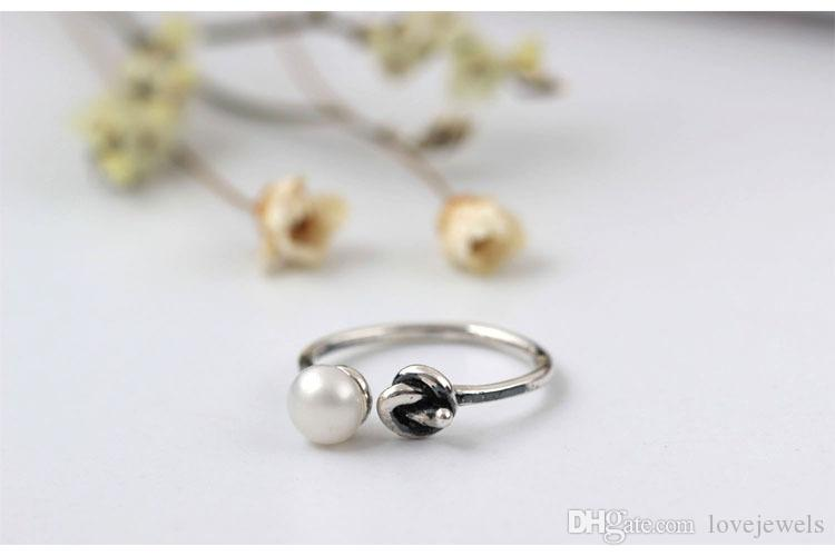 Original adjustable charm Jewelry fashion sterling silver 925 ring Weave female Pearl Knot Handmade antique boutique china direct wholesale