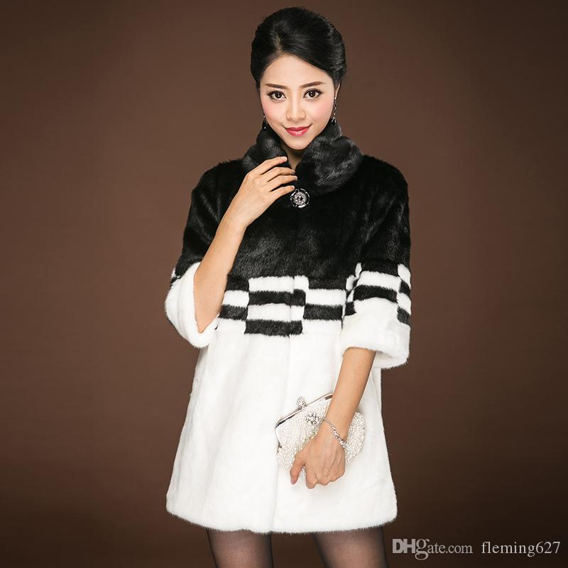 Korean style Luxury Winter ladies fur overcoat medium-long fashion top quality faux fox fur coat female Warm outerwear parkas