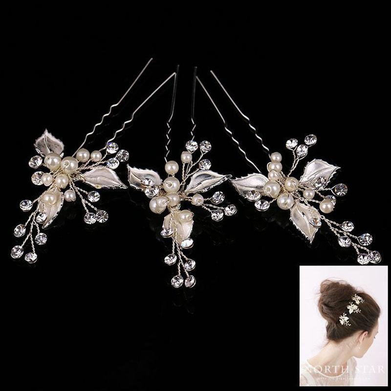 Gorgeous Silver Clear Crystals Pearls Flower Wedding Hair Pin Bridal Hair Stickers Hair accessories Bridesmaids Women Jewelry S919