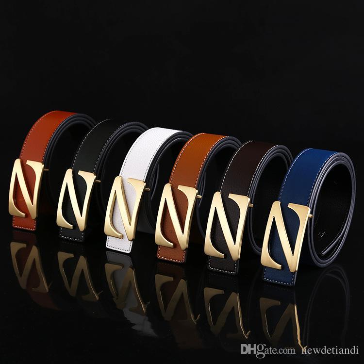 New men's belt leather men's belt z letter smooth buckle Korean fashion leather genuine explosion models