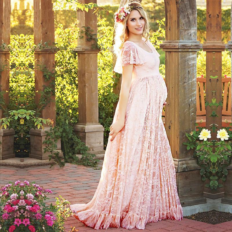 4678013fe Compre Nuevo Vestido De Maternidad Rosa Blanco Embarazo Photo Props Shoot Embarazadas  Mujeres Dama Elegante Vestidos Encaje Partido Formal Vestido De Noche ...
