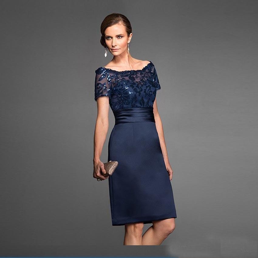 separation shoes 1bf23 b8c65 Abito blu scuro della madre della sposa abiti da donna di alta qualità  elegante di lunghezza del ginocchio breve abito da sera