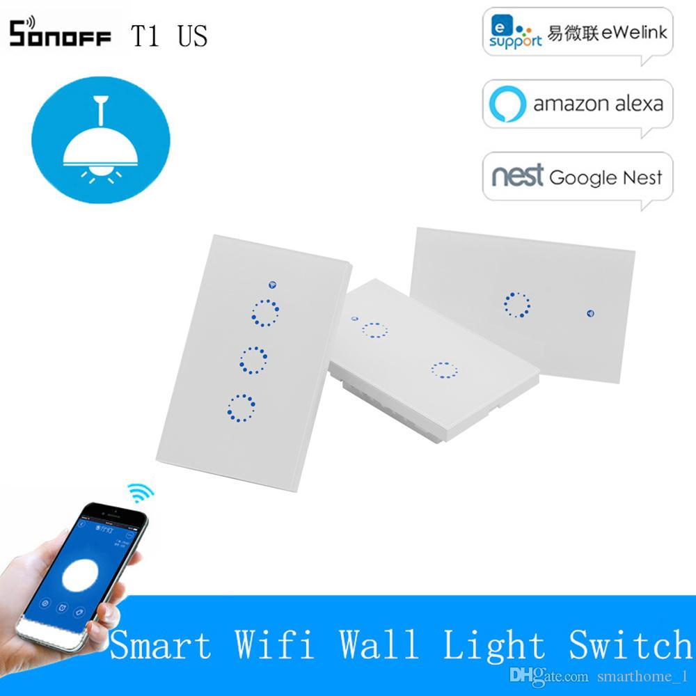 Sonoff T1 US Smart Wifi Wall Light Switch 1 2 3 Gang Touch/WiFi/315 RF/APP  eWeLink Remote Smart Home Wall Touch Switch Works with Alexa