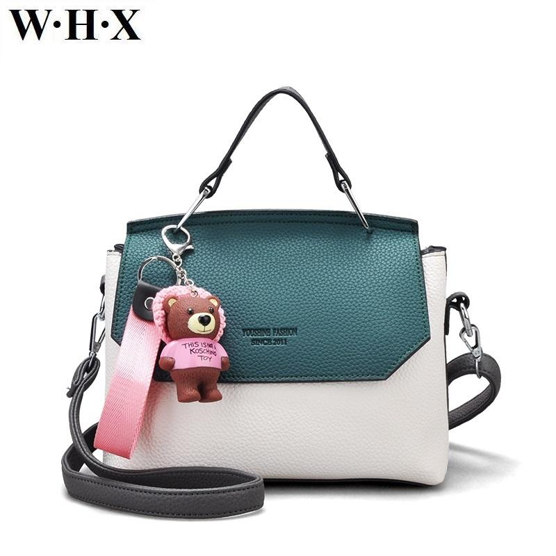 WHX Fashion Style Women Tote Bags CrossBody Bag Female Casual Handbag  Leather Shoulder Messenger Bag With Little Bear Key Chain Hobo Stores  Define Hobo From ... a662f68af6c1f