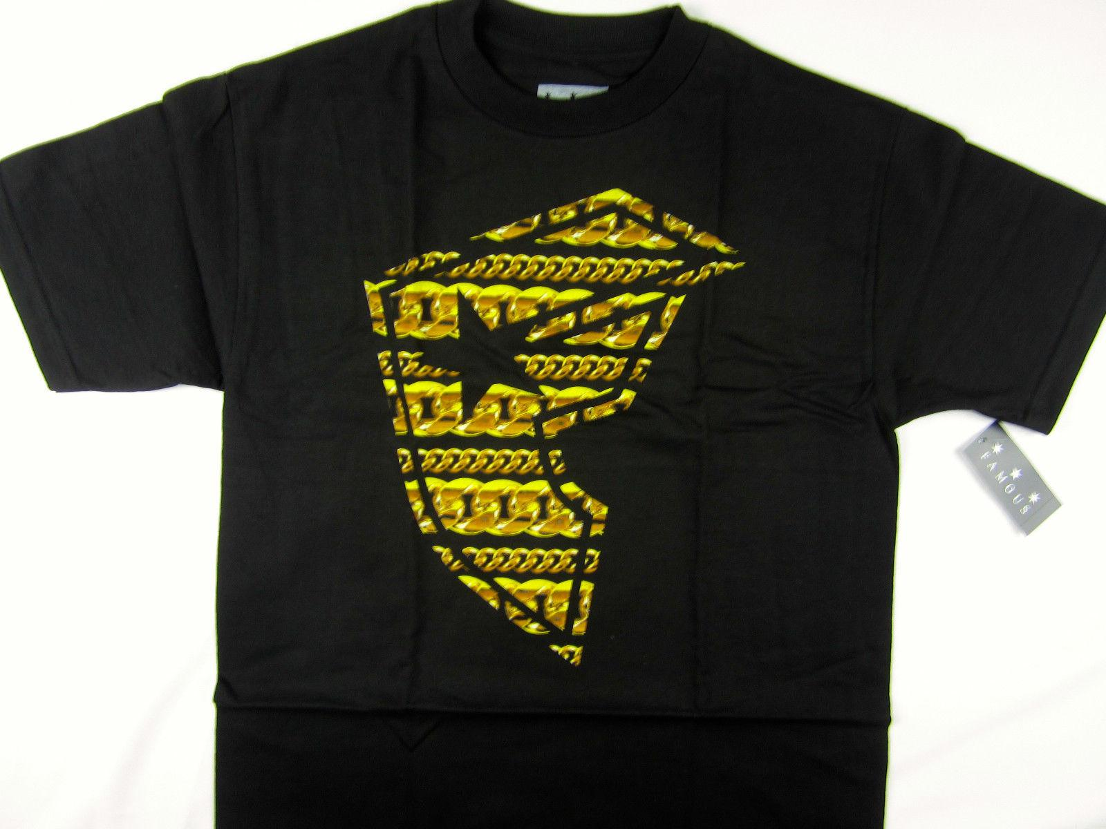 89672d4bc8556 Famous Stars   Straps Black Gold Chains Logo Men S T Shirt Moto X FMX Skate 2018  Funny Tee Cute T Shirts Man 100% Cotton Cool Tees Design T Shirt Of The Day  ...