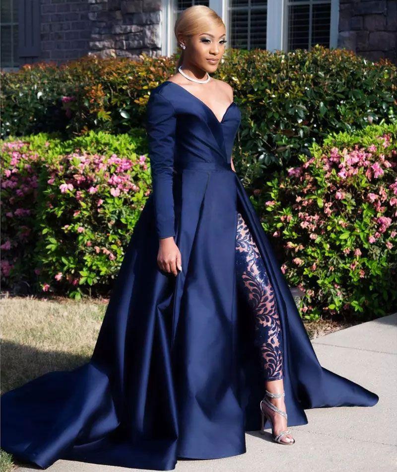 Dark Navy Zweiteiler Abendkleider One Shoulder Langarm Side Split Pailletten Abendkleider Hosen Overalls A Line Plus Size Formal Dress