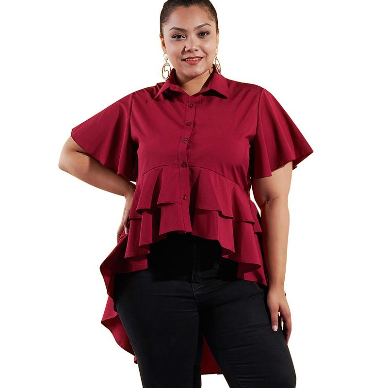 Women 4XL Plus Size Blouse Solid Color Asymmetric Tiers Hemline Ruffle  Autumn Tunic Tops Short Sleeve Buttons Elegant Shirt 2018 Online with   48.03 Piece on ... b3f52e28be5f