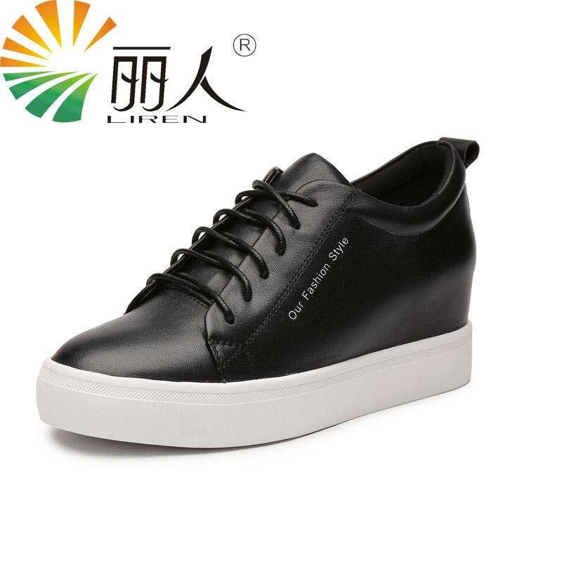 d74e26ed4db74 Compre Liren Tamaño 34 39 Zapatos Planos 2017 Cordones De Cuero Genuino  Casual De Alta Calidad Zapatos De Las Mujeres De Moda Blanco Negro A  73.21  Del ...
