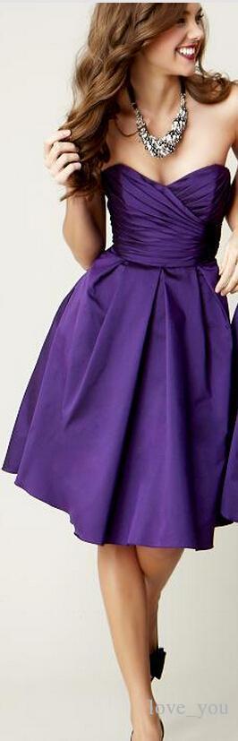 A buon mercato semplice viola scuro una spalla senza maniche breve abito da damigella d'onore in raso corsetto al ginocchio A-line cerniera elegante abiti da festa di nozze