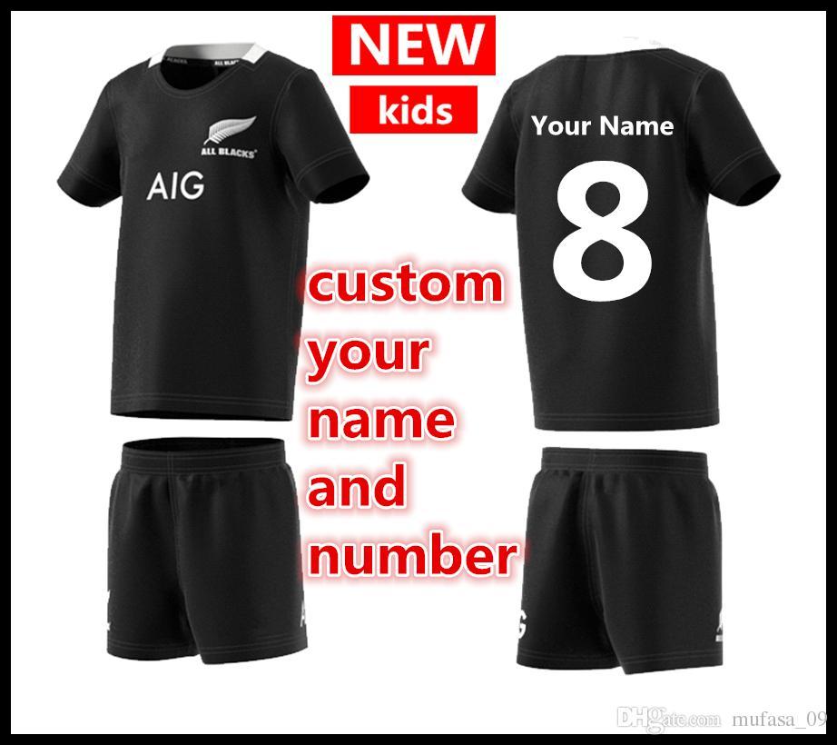 Benutzerdefinierte Ihren Namen Und Nummer 2019 New Zealand All Blacks Kinder Mini Kit Startseite Rugby Trikots Super Rugby Shirt All Blacks Kinder