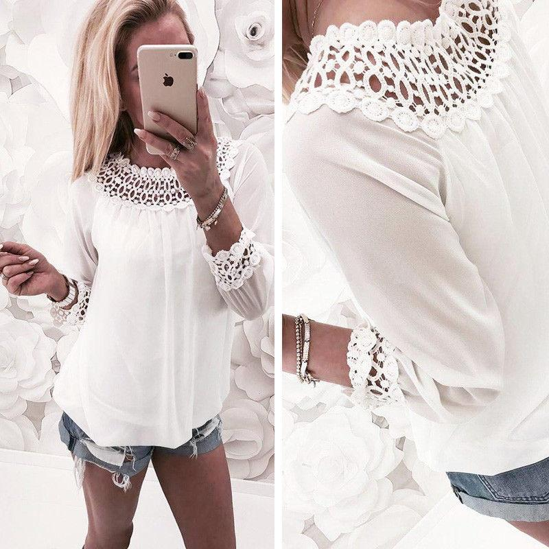 0ac37f04cc5d Fashion Women T-shirt Chiffon Lace Long Sleeve Loose Casual Tops T-shirt  Summer Casual Women Clothes Tops 2018 Online with $40.04/Piece on Bibei06's  Store ...