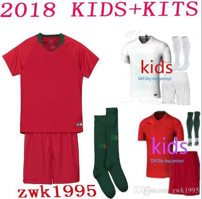 buy cheap soccer sets for big save 2018 world cup home portugal kids jerseys kit 18 19 away silva ronaldo nani national team child football jersey shi