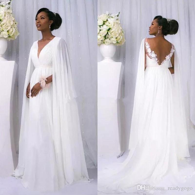 Sexy African 2018 White Chiffon Cape Sleeve Beach Country Wedding Dresses Cheap Backless V Neck greek goddess beach Bridal Gowns Custom Made