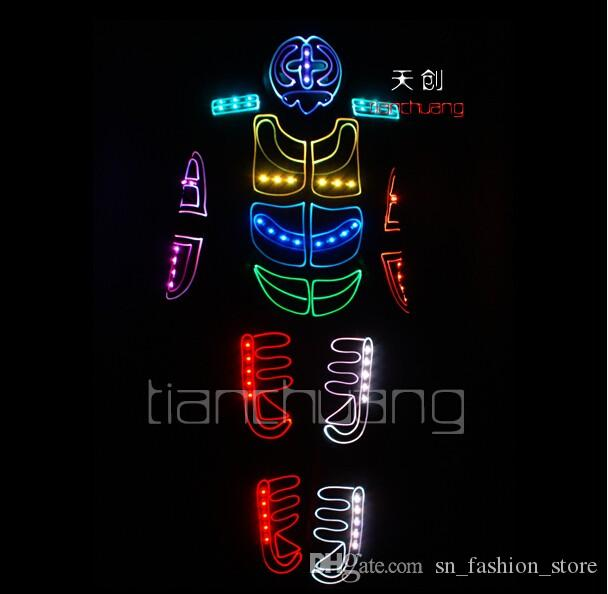 TC-124 Full color LED colorful light robot costumes party dj led ballroom disco stage RGB wears Program design dance led clothes performance