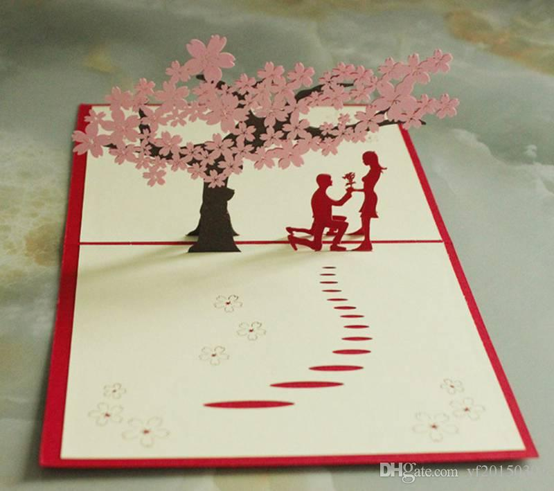 Postcards 3D Laser Merry Christmas Tree Vintage Greeting Cards ...
