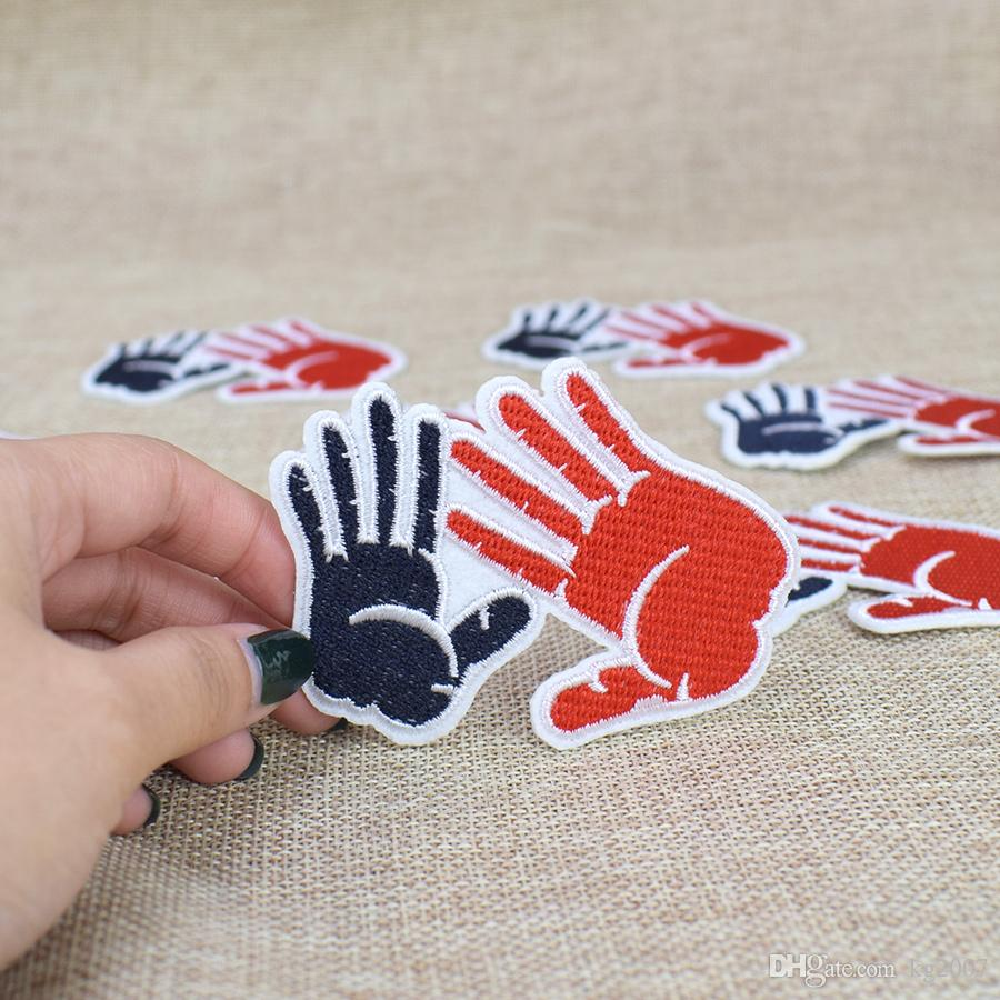 Palm Print Embroidered Patches for Clothing Bags Iron on Transfer Applique Patch for Jeans Sweater Sew on Embroidery Patch Kids DIY