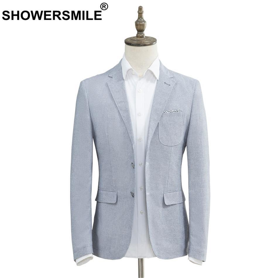 2019 Showersmile Slim Fit Blazer Men Light Blue Smart Casual Blazer