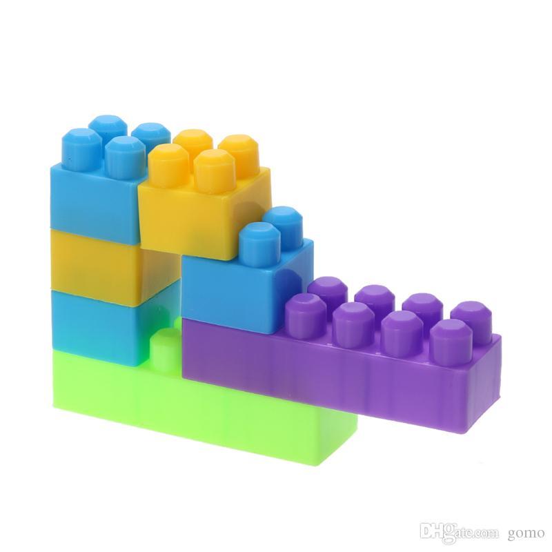 46pcs/set Plastic DIY Building Blocks Colorful Geometric Shape Self-Locking  Bricks Children Kids Intelligence Development Toy