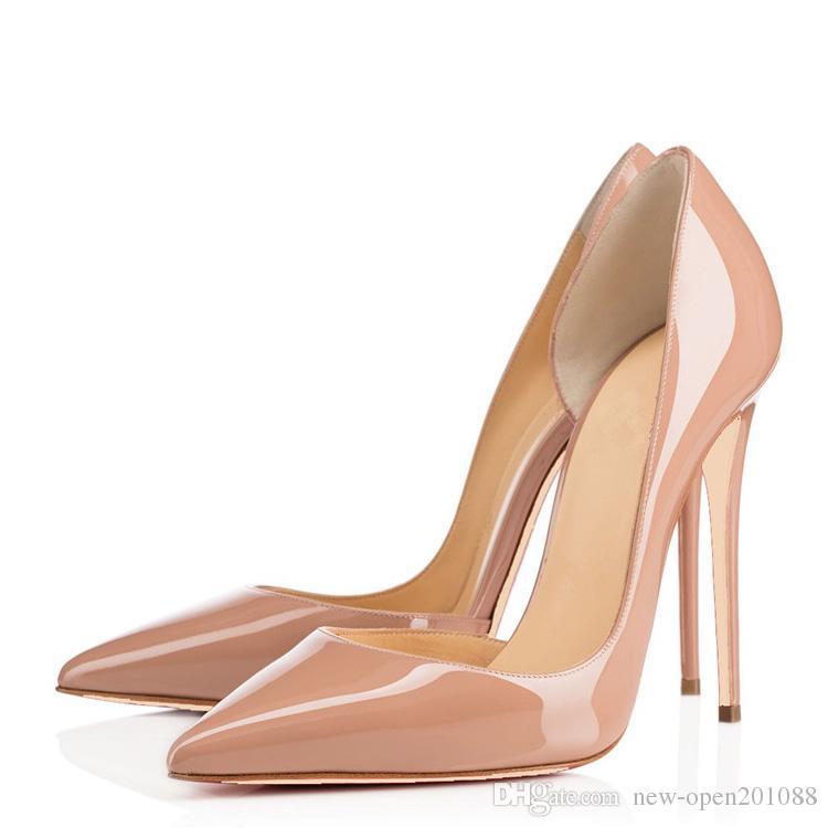 2018 Bombas Vermelhas De Couro de Patente Pigalle Heels MULHERES Sapatos De Casamento Dedo apontado salto fino Sexy Mulher de salto Alto 35-44