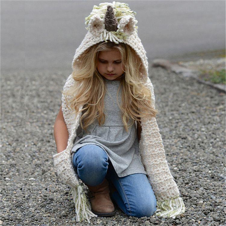 Großhandel Einhorn Schal Mütze Kinder Infant Llama Warme