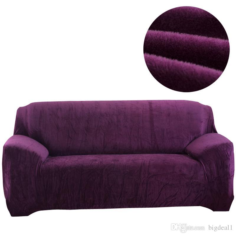Flannel Solid Color Sofa Cover Elastic Slipcover For Sectional Sofa ...