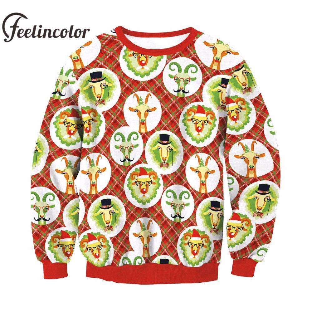 Unisex Kersttrui.2019 Feelincolor New Christmas Sweater With Deer Men Santa Clus