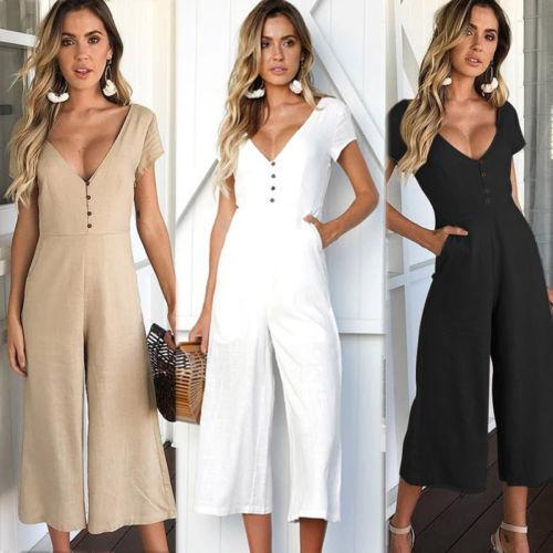 Women Clubwear Playsuit Romper Solid V-neck Sexy Summer Short Sleeve Party Jumpsuit Rompers Trousers