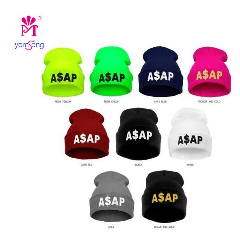 76c2c84ac18 2019 Yomsong Letter ASAP Women And Men Fluorescence Candy Color Hip Hop  Casual Beanie Hats Hot Sale Acrylic Bonnet Caps Muti Color From Qingfengxu