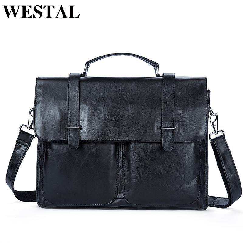 4db27d2761 WESTAL Genuine Leather Men Bag Mens Leather Bag For Work Men Briefcases  Handbags Totes Large Shoulder Bags Briefcase Laptop Bags Briefcases For  Women Womens ...