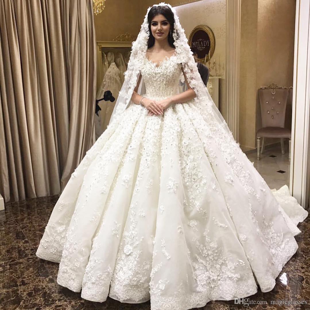 Großhandel Luxuriöse Arabische Dubai Ballkleid Brautkleider 20D Flora  Appliques 20 New Reizvoll Weg Schulter Perlen Pailletten Puffy  Brautkleider Von