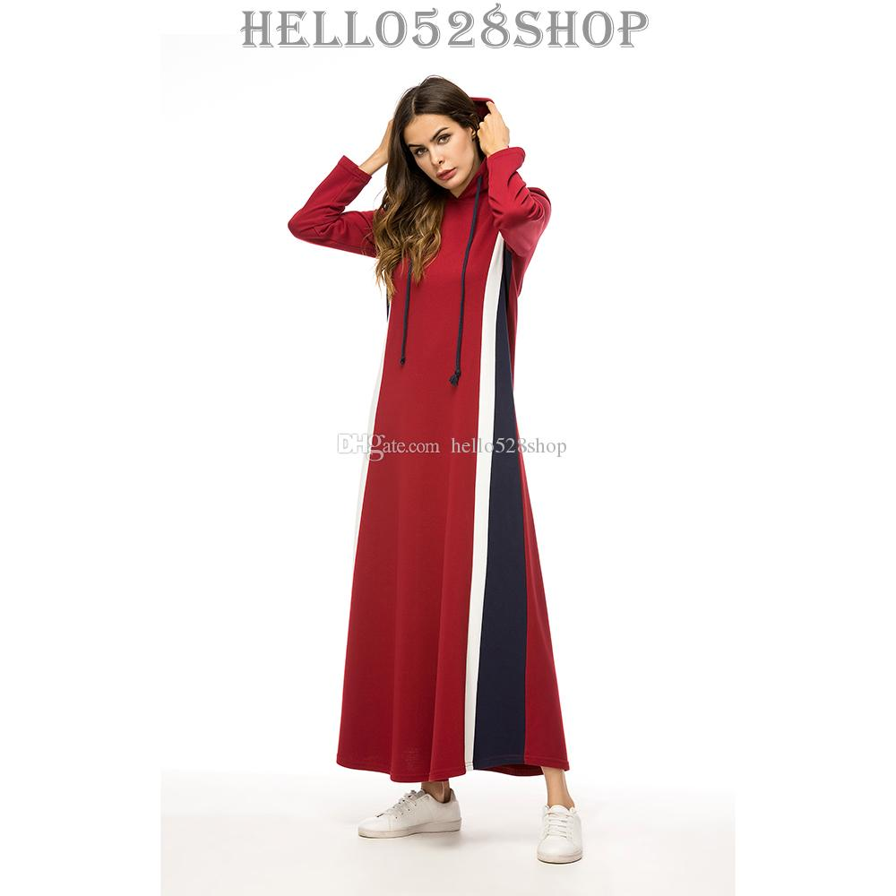1f24ba9825e 2019 Fashion Casual Kaftan Maxi Dress Evening Gowns Hooded Sweater Dresses  Wedding Cocktail For Muslims Women From Hello528shop