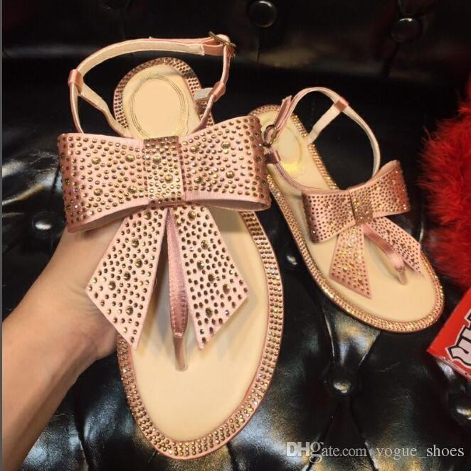 05afa0c069def Elegant Women Sandals Crystal Embellished Sandals Butterfly Knot Flat Shoes  Women Pink Black Rhinestone Summer Dress Shoes Ankle Straps Sexy Shoes  Sandels ...