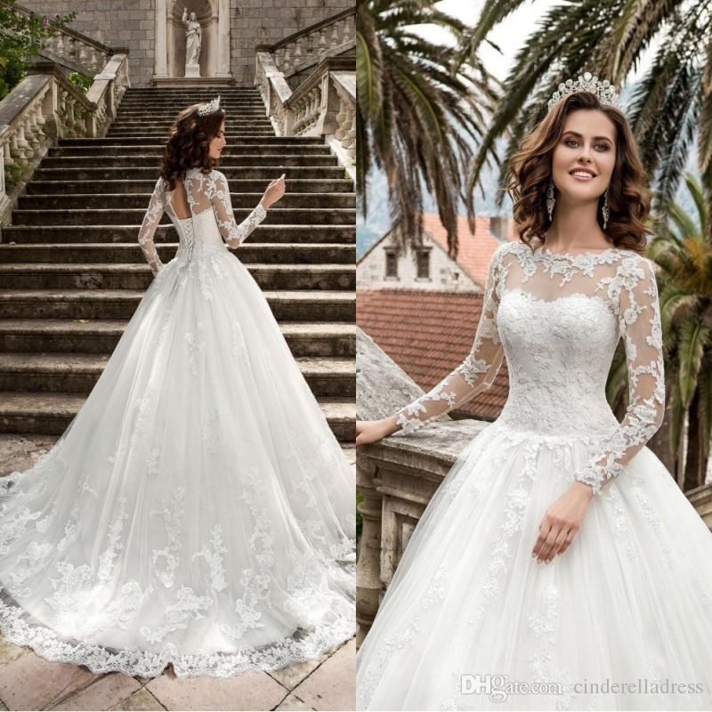 a64dd1db4373f Discount 2019 New Queen Vestios De Novia A Line Plus Size Wedding Dresses  Sheer Long Sleeves Lace Corset Back Vintage Bridal Gowns BA6379 Knee Length  ...