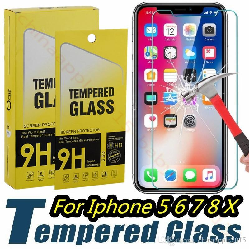 For iphone 5 6 7 8 Plus X XR XS Max Tempered Glass Screen Protector 9H 2.5D Anti-shatter Film For samsung s6 s7 s8 s9 with box