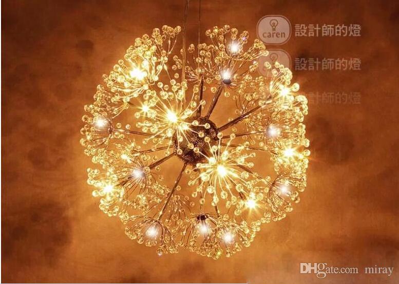 47cm Avrupa K9 Kristal Kolye Işık Yaratıcı Karahindiba LED Kristal avizeler Modern Minimalist Salon dropLights