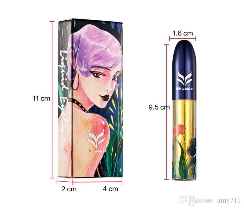 Sıcak makyaj marka HUAMIANLI Likit Eyeliner Glitter Pearl Luster Pırıltılı Eyeliner DHL kargo ile 7 renkler