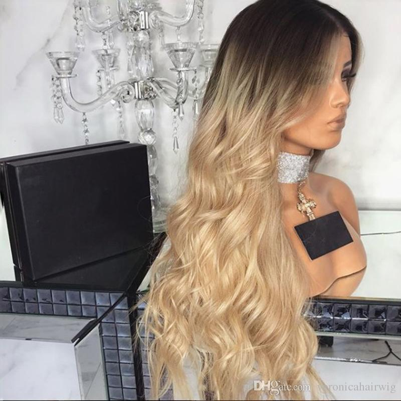 Charming Ombre Blonde Wig Glueless Body Wave Lace Front Wigs With Baby Hair Dark Roots Heat Resistant Hair Synthetic Wigs For Black Women