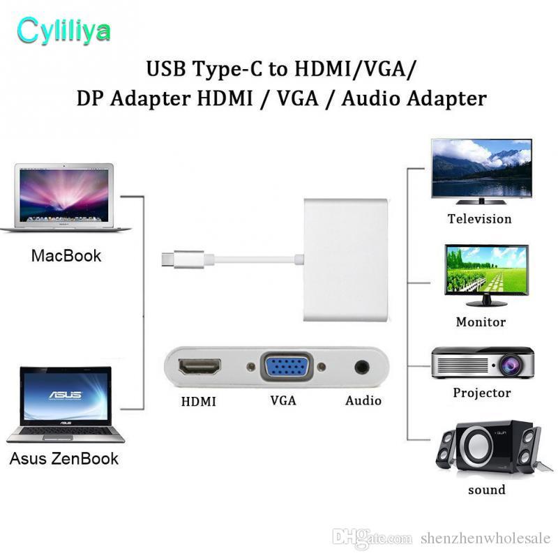 Ses Video Dönüştürme Kablosu Adaptörleri USB 3.1 Tip C HDMI Dönüştürücü PC Laptop için VGA + 3.5mm Ses Adaptörü ile