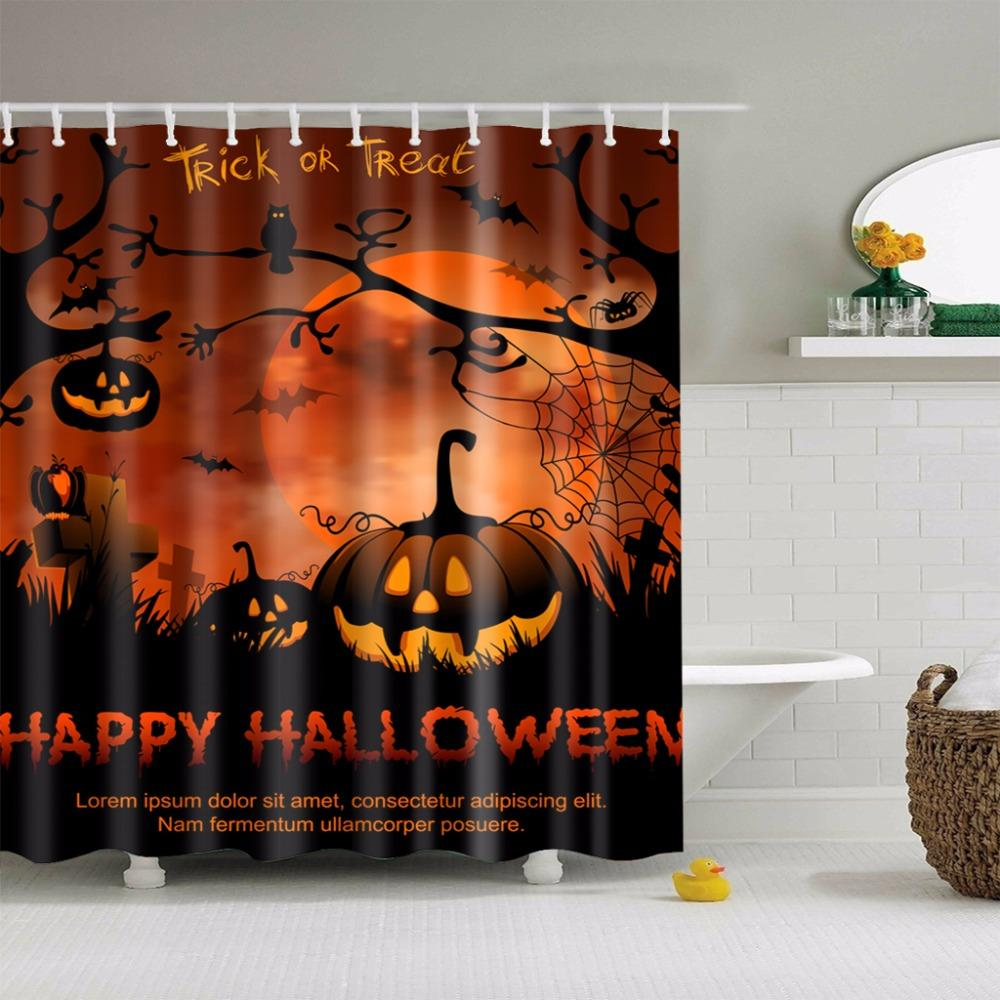2018 180180cm Waterproof 3d Halloween Shower Curtain Nightmare Before Christmas Ghost Skeleton Castle Style Bath Curtains Ari 909 From