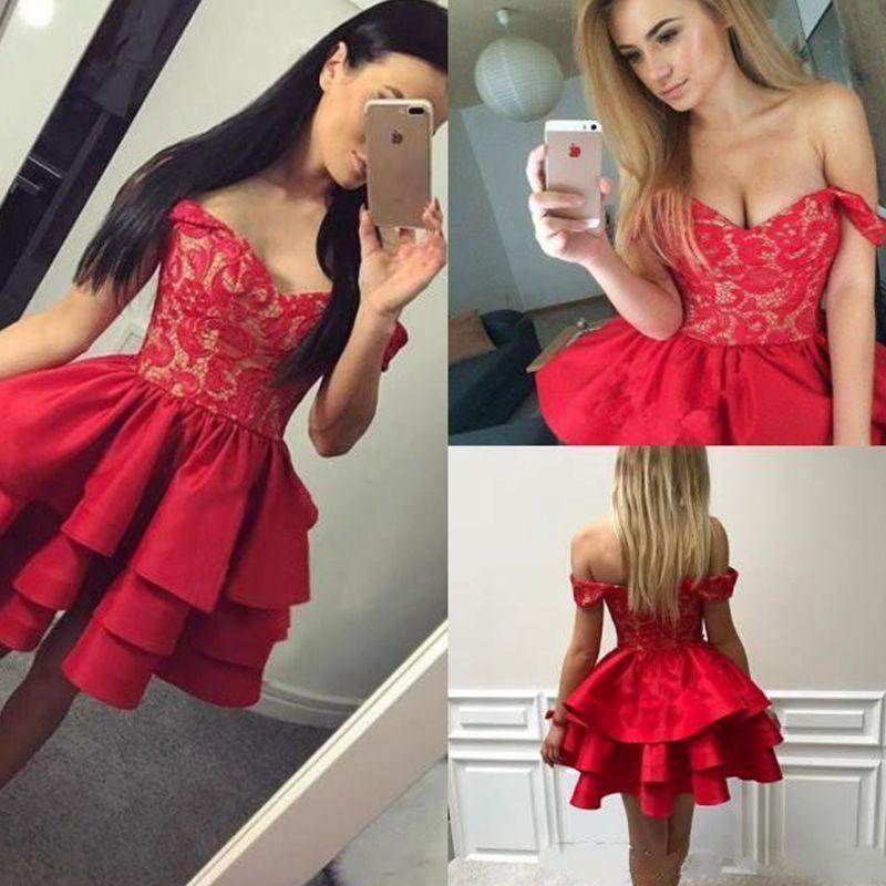 Ruffles Tiered Red Short Homecoming Dresses 2018 Modest A Line Off  Shoulders Appliqued Mini Cocktail Gowns Short Party Dress Lace Homecoming  Dresses Long ... 08e85e99277e