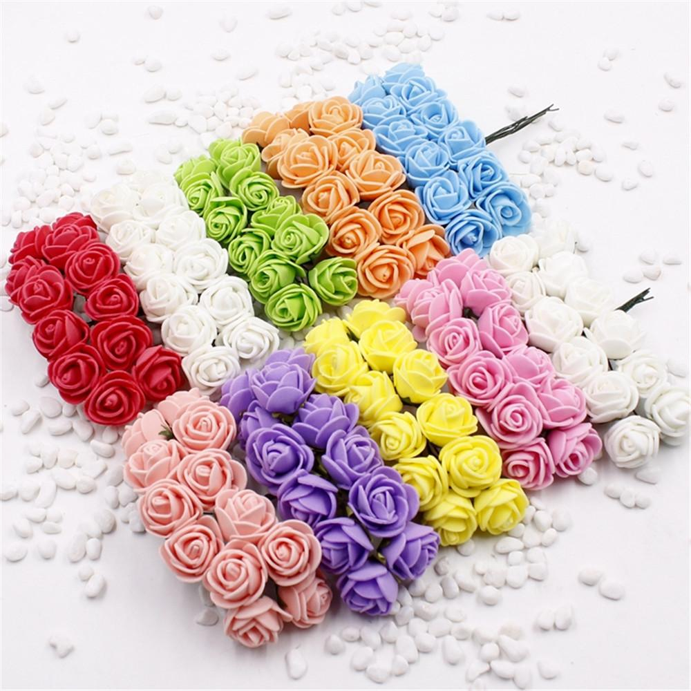 144 pcs Mini Foam Rose Artificial Flowers For Home Wedding Car Decoration DIY Pompom Wreath Decorative Bridal Flower Fake Flower