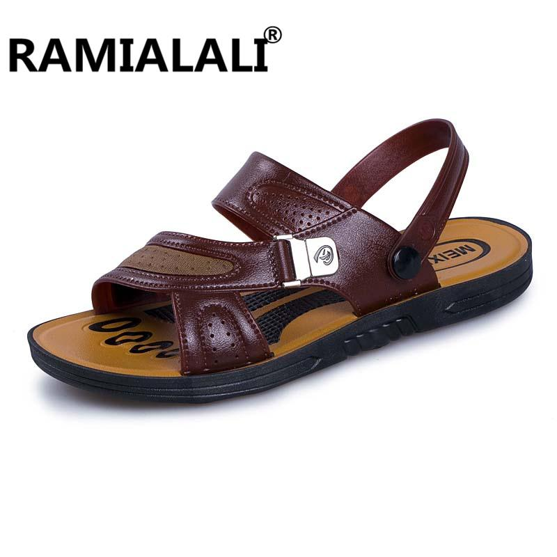 13a7c2d1ff Ramialali Men Fashion Sandals 2018 Summer Men S Slippers Leather Shoes  Beach Casual Breathable Home Slippers Men Shoes Flip Flop Red Wedges Summer  Shoes ...