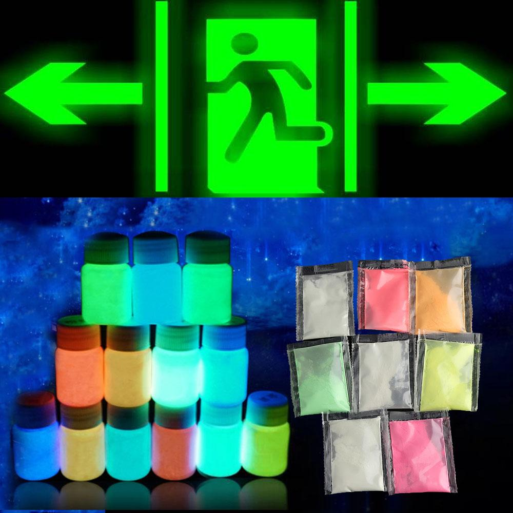 10g/Pack New Colorful Fluorescent Powder Super Bright Glow in the Dark Powder Glow Pigment DIY Festival Party Decoration