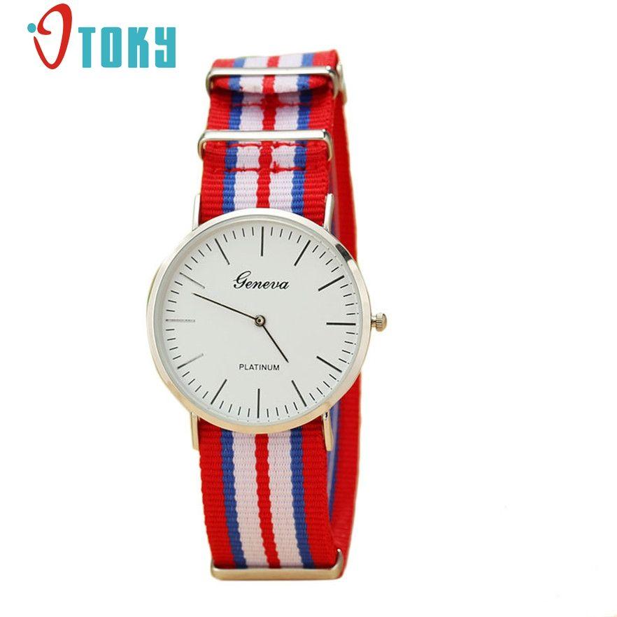 63376a96034 OTOKY Ultrathin Geneva Watches Men Multicolor Stripe Fabric Wristwatches  Quartz Mens Watch Relogio Masculino Gift Watch Sale Automatic Watches From  Zeipt